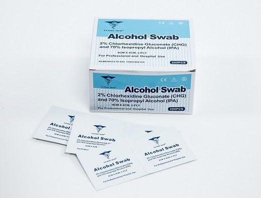 Alcohol swab with chlorhexidine, 4x4cm, 2 ply